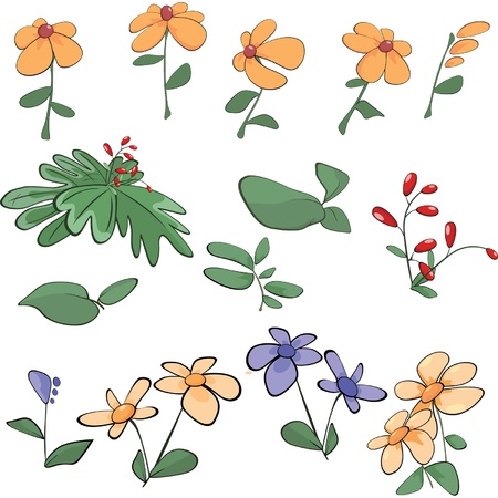 Flowers, grass, plants. Cartoon Stock Vector - 17525127