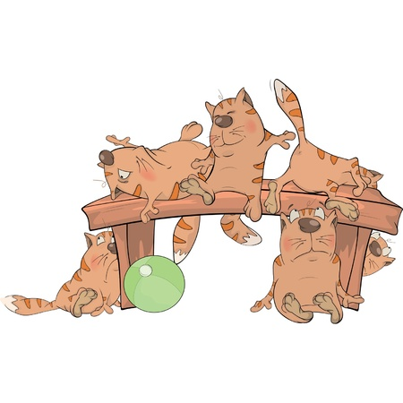 wooden bench: Cats on a bench. Cartoon