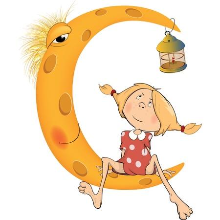 estrella caricatura: La muchacha roja que se sienta en la luna Vectores