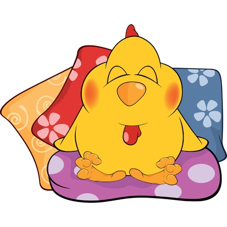 Chicken and pillows cartoon Vector