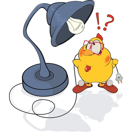 Chicken and a desk lamp cartoon Vector