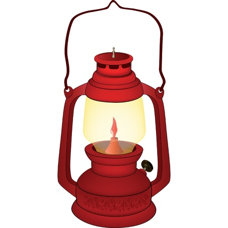 kerosene: Old red lamp Illustration