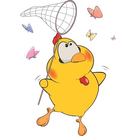 Chicken and butterflies cartoon Vector