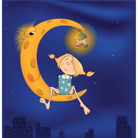 The girl and the moon cartoon Vector