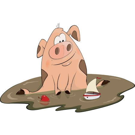 Pig and a toy ship cartoon Vector