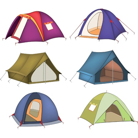 camping: Set of tourist tents