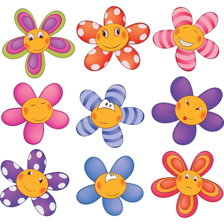 flowers cartoon: Cheerful small asterisks cartoon