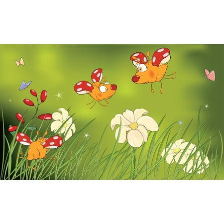 Ladybirds and flower glade cartoon Vector