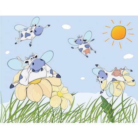 Cheerful cows cartoon Vector