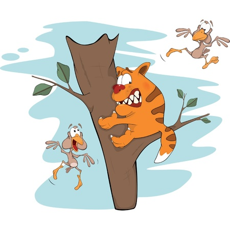 caricature cat: Cat on a tree and birds. Cartoon Illustration