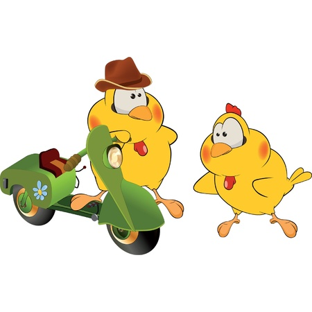 moped: Chickens and a moped cartoon