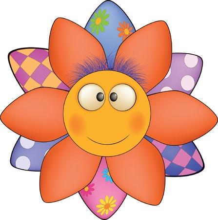 violet red: Happy cartoon flower, sun, soft toy