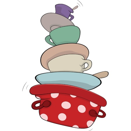 dirty dishes: Kitchenware cartoon Illustration