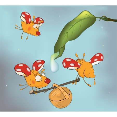 Ladybirds and dew. Cartoon Vector