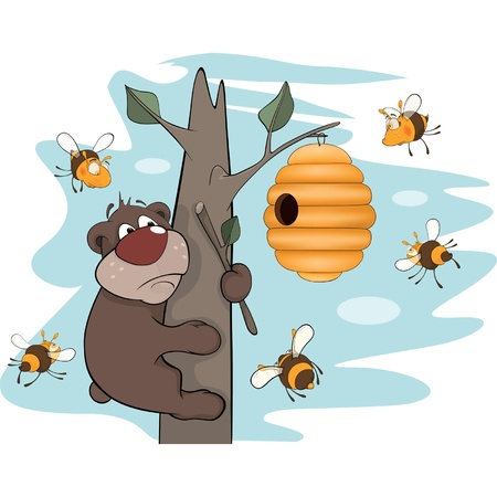 Bear cub and bees. Cartoon Vector