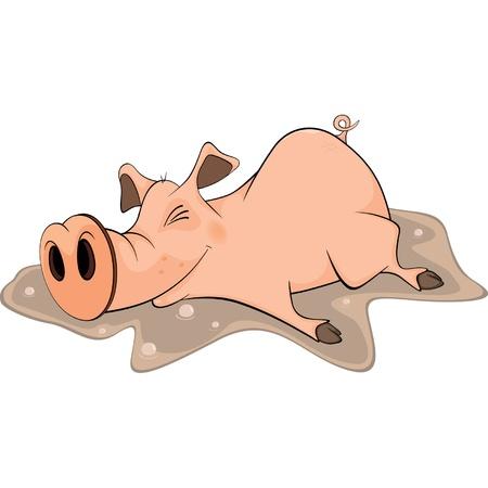 Pig and a pool. Cartoon Vector