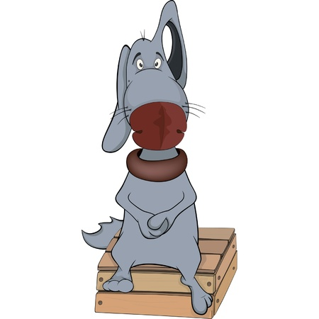impudent: Blue dog. Cartoon Illustration