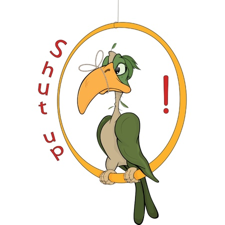 shut up: A parrot with a tied up beak. Cartoon Illustration