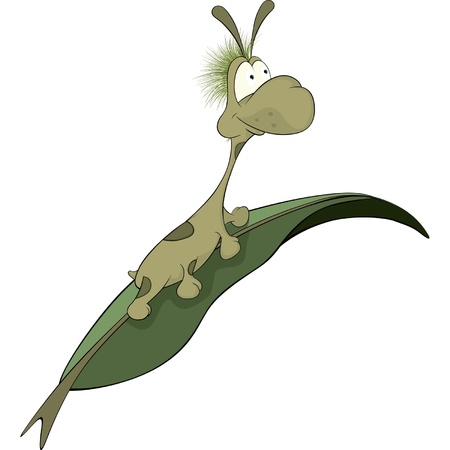 Green worm on a leaf. Cartoon Vector