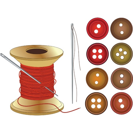 Needle, Coil of red threads and buttons Vector