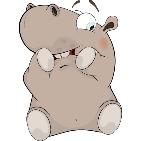 Little hippopotamus. Cartoon Vector