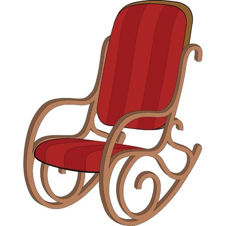 Rouge chaise à bascule en bois Vecteurs