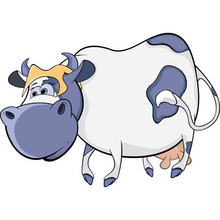 artful: Happy blue cow. Cartoon