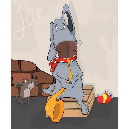 sad dog: Dog the street musician. Cartoon Illustration