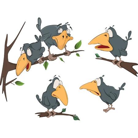 O conjunto completo alegre um corvo Ilustração