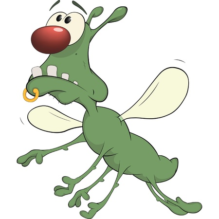 Green insect. Cartoon. Vector