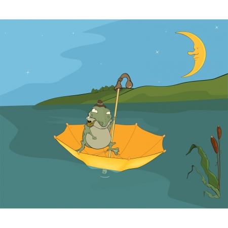 Travel of a frog. Cartoon Vector