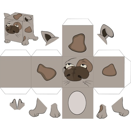 assemblage: A dog cube. Toy for assemblage