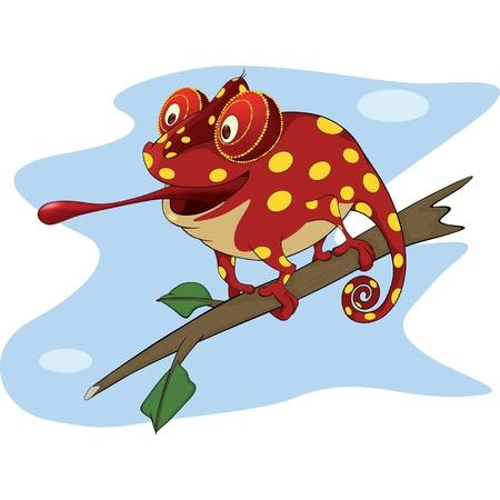 Big red Chameleon cartoon  Vector