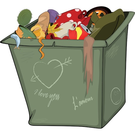 dust pan: Waste container  Cartoon Illustration