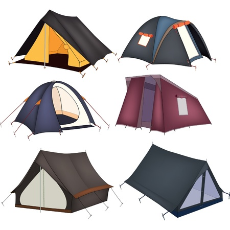 recreational area: Set of tourist tents