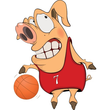 Pig the basketball player cartoon Vector