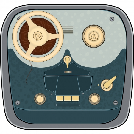 The old reel to reel audio tape recording Illustration