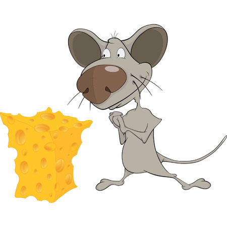 Little mouse and cheese cartoon Vector