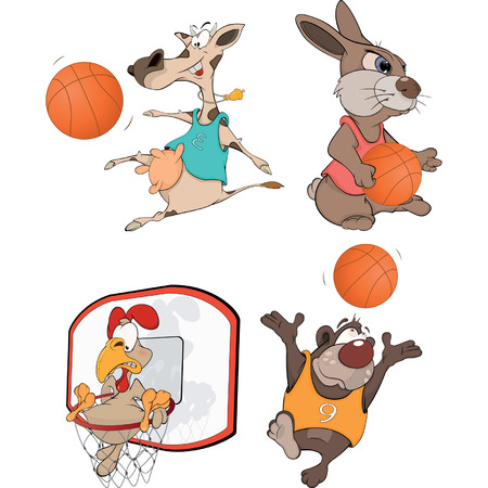 The basketball players   Vector