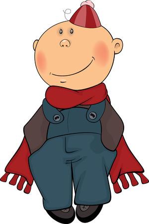 beanie: A boy in a winter coat and a beanie
