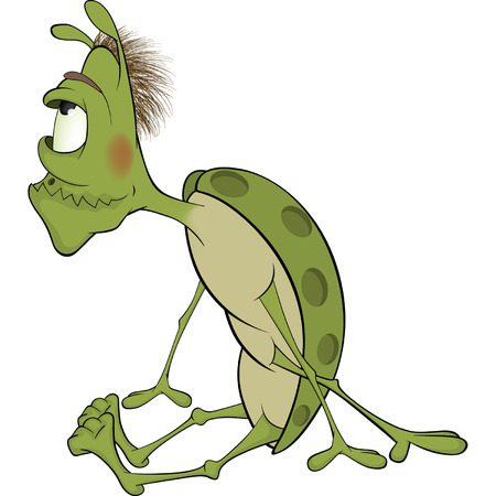 crawly:  Green insect cartoon