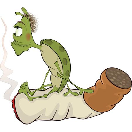 malady: Green bug and cigarette cartoon