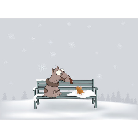 bench alone: Last leaf  Christmas fairy tale