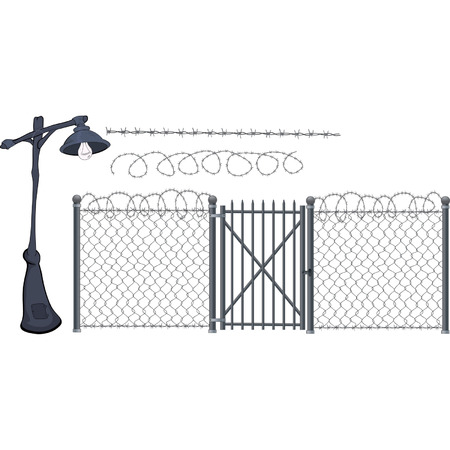 barbed wire fence: Barbed wire and street lantern