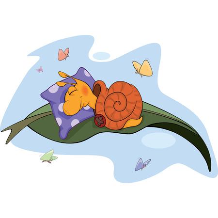 invertebrate: Sleeping snail cartoon