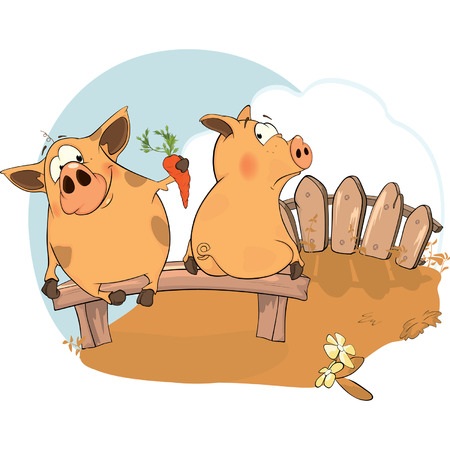 Two pigs Vector
