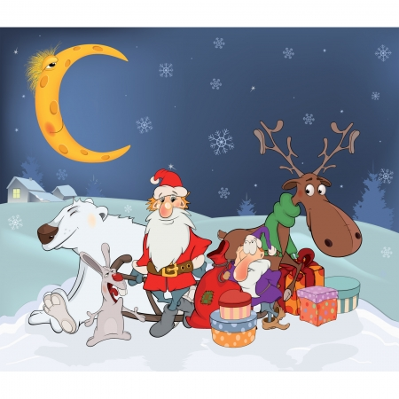 Santa Claus with his friends and Christmas gifts  Cartoon Vector