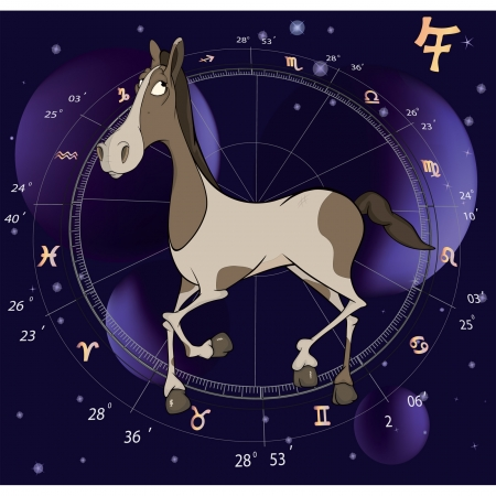 Chinese horoscope year of horse cartoon  Vector