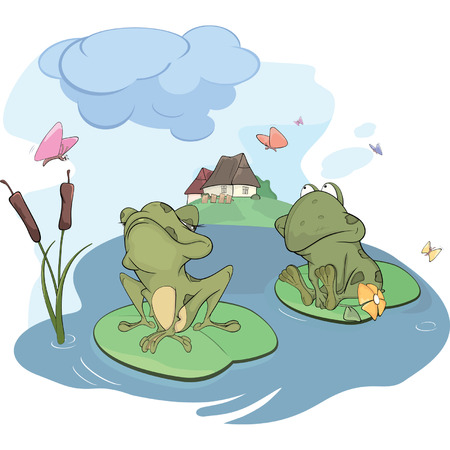 The enamored young frog cartoon  Vector
