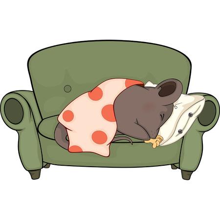 Sleeping mouse cartoon Ilustração